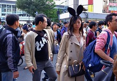 Best Dressed Bunny (burnt dirt) Tags: shibuya tokyo japan asian japanese shibuyastation shibuyacrossing centergai shibuyahalloween halloween cosplay costume bunny rabbit ears woman girl people person crowd man street streetphotography city town purse coat