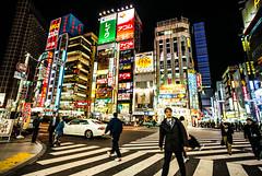 Shinjuku night (Phg Voyager) Tags: japan shinjuku street night leica mp 18mm fun photography evening restaurants tower urban metropolis asia phg phgvoyager color outdoor longexposure tokyo lights add neons zebra cars people