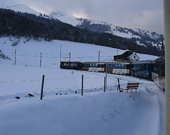 RD382.  On the MOB at Les Sciernes. (Ron Fisher) Tags: montreuxoberlandbernois mob snow winter switzerland suisse schmalspurbahn metregauge narrowgauge schweiz voieetroite transport publictransport rail railway ch