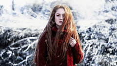 red rose (bussragul) Tags: snow winter freckless girl woman model sunset sunlight clouds nature natural face fashion art portrait portre