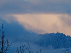 Coburg Hills at dusk (piranhabros) Tags: winter snow evening dusk trees hills towers clouds mystery