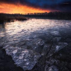 Ice water (Stéphane Sélo) Tags: france lyon pentax pentaxk3ii saône ain blending coucherdesoleil eau fleuve glace ice landscape paysage river rivière sunset water