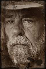 Cane Cutters Lament (Allan Saw) Tags: bushie bushman cane cutter sepia sel portrait selfie me male man aussie australian old colonial hat beard ink blot stain distressed photo scratchy