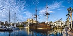 Galeón Santísima Trinidad, Alicante (E) (Panoramyx) Tags: puerto port porto hafen haven alicante alacant comunitatvalenciana españa espanya spain spanien espagne spagna spanjie panorama panoramica hdr