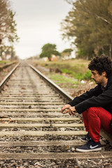 Recuerdos (Analogo - Digital) Tags: train tren rojo track traintracks tracks campo riel mauro ferrocarril vias tirantes aldao uliassi maurouliassi