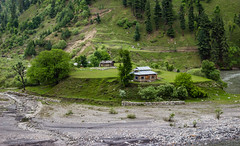 The Lone House on the Cliff (Sarmad8bit) Tags: pakistan summer house green forest river still peace tranquility valley kashmir ajk neelum