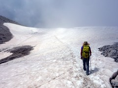 """Crossing a snow field in the Corno Grande basin • <a style=""""font-size:0.8em;"""" href=""""http://www.flickr.com/photos/41849531@N04/19750954861/"""" target=""""_blank"""">View on Flickr</a>"""