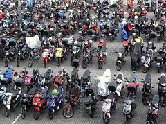 Bikes: Parking Full (2015) (phillipians12004) Tags: people rollei person parking motorcycles bikes
