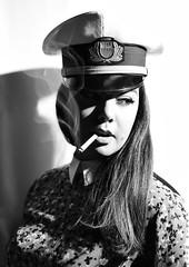 Punk mood (niro.fabio) Tags: hardlight lucedura cappello blackandwhite biancoenero portrait ritratto portraitmood portraitphotography nikonportrait nikond5500 sigaretta cigarette beauty sguardo lowkey hightkey bw fumo smoke profilo profile punk