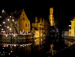 Most photographed corner in Bruges (babs van beieren) Tags: bruges belfry halletoren 7dwf crazytuesdays nightphotography belgium medieval
