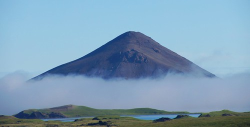 Morning fog at Lake Myvatn, Nordurland