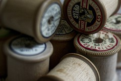 Reels (jillyspoon) Tags: reels sewing sewingreels bobbins silk thread cotton wood wooden haberdashery notions machinetwist machinethread stilllife satinised dewhursts cottonthread canon70d canon lensbaby lensbabyedge edge50 stitching quality