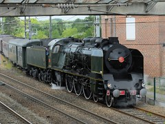 Locomotive  vapeur 231 K 8 en tte d'un train spcial (xavnco2) Tags: railroad france green train machine eisenbahn railway locomotive steamengine verte picardie sncf ferrovia 231 somme locomotiva chemindefer vapeur corbie 231k8