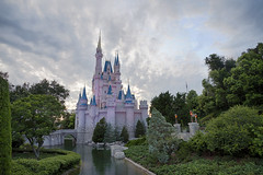 Magic Kingdom (Kevin. B.) Tags: sunset castle orlando florida cloudy magic kingdom disney well wishes mickeymouse cinderella waltdisneyworld moat fantasyland wishing cinderellascastle cinderellasroyaltable