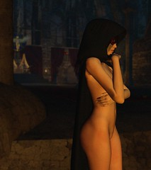 The Watcher (alexandriabrangwin) Tags: world woman black church beautiful night computer dark naked temple 3d graphics ruins mask body robe secret watching goddess altar secondlife virtual sacred cult hood cloak throne ishtar guarding cgi sisterhood alexandriabrangwin