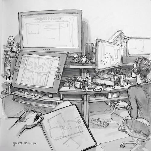Это быстрый набросок моего рабочего места. Если сидеть ровно и рисовать такой вот длинный стол, то становится очевидным, что его нельзя рисовать ровным по перспективе, так как и справа и слева глаз захватывает пространство и Настей и предметам) Потому что