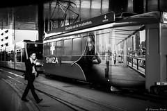 Gare de Tramway, Bâle, Suisse (Etienne Ehret) Tags: gare tramway bâle basel suisse schweiz street rue noir noirblanc blanc bw black white canon 5d mark iii 50mm sériel f12