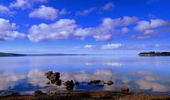 LAVENDER BLUES (Lani Elliott) Tags: tasmania australia scene scenictasmania view water sea ocean sky clouds reflection reflections bluesky mauve blue bluewaters