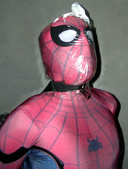 Bagged MCU Homecoming Spider-Man (uomoragnolegato) Tags: breathplay suffocation plasticbag spiderman zentai spandex lycra mask hood gloves strap bondage tights catsuit asphyxiation eyes rubber leather