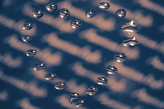... with  tears (mariola aga) Tags: waterdrops heart heartshape reflection refraction blue tint macro closeup text art thegalaxy