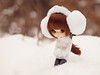 Winter Rose (Saga☆) Tags: yeolume full custom pullip groove aga obitsu21 obitsu 21 doll girl repaint faceup makeover mikiyochii mikiyo freckles brown dark auburn hair wig bangs eyes cute lovely pretty sweet young child baby kid toy asian saga sagelith rose rosie white winter snow snowballs forest cold sweater mittens grey tights