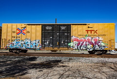 (o texano) Tags: houston texas graffiti trains freights bench benching jobe task