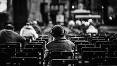 Quiet time (David Ramalho) Tags: person church prayer meditation chairs blackandwhite hat