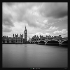 Classic Big Ben (Ilan Shacham) Tags: uk bridge england blackandwhite bw london thames clouds square landscape cityscape view fineart scenic dramatic parliament bigben drama fineartphotography london2015