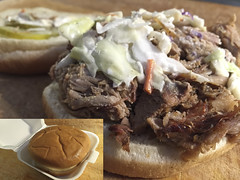 Granville's Gourmet #Barbecue #Pork #Sandwich - h139 (SouthernBreeze) Tags: trip travel family friends light usa cooking fun pig al unitedstates notes eating interior south contest alabama bbq sandwich location meat southern pork eat barbecue slaw pickles inside tasting comparison ios bun address protein barbque barbq barbcue iphone 2015 i6 southernbreeze iphoneography