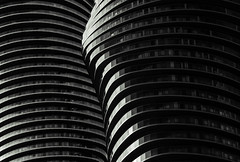 Offset Contours (Jack Landau) Tags: world toronto abstract building texture geometric monochrome field lines marilyn architecture skyscraper buildings ma design pattern background diagonal monroe mad minimalism curve mississauga depth absolute yangsong