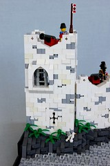 Imperial Fort (soccersnyderi) Tags: wood tower window water rock stone wall design coast model lego fort interior pirates lookout creation cannon imperial ladder build megaphone moc