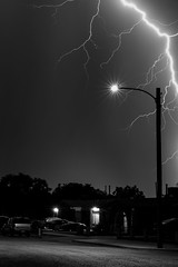 Well Lit Neighborhood (Steven Green Photography) Tags: lighting street house storm nature rain weather night streetlight energy texas power flash neighborhood elpaso electricity static suburb lightning