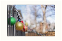 Come to our house (Krasne oci) Tags: merrychristmas christmasornament holidays green gold red fence dof bokeh trees street decoration season december winter evabartos artphotography photoart