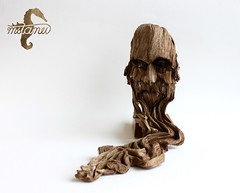 Father Time (mitanei) Tags: origami bark rinde face origamimask origamiface oldman mitanei faces paperart woodsculpture keepfoldingon papierkunst