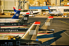 "BOS.2008 # US - A320/A319/B757 ""Sunrise Fleet Tails"" awp (CHR / AeroWorldpictures Team) Tags: us airways awe airbus a320214 cn 1114 n111us became americanairlines a319112 1358 n762us boeing 7572b7 27123 534 n927uw cfmek morningstarairexpress tails fleet aa aal sunset planespotting planes aircrafts sunrise boston airport terminal bos kbos ma usa nikon d80 zoomlenses 70300vr nikkor raw lightroom lr3 lr5 awp ngc"