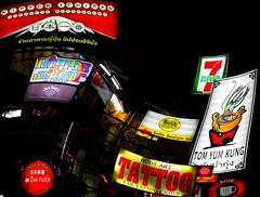 BANGKOK KHAO SAN ROAD SIGN (patrick555666751) Tags: bangkokkhaosanroadsign bangkok khao san road sign enseignes enseigne asie du sud est south east asia flickr heart group thailand thailandia thailande light lumiere noche nuit night notte red rojo rouge rosso rot rood