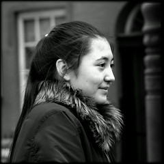 Chinatown girl (* RICHARD M (Over 6 million views)) Tags: candid street portraits portraiture candidportraits candidportraiture streetportraits streetportraiture mono blackwhite smiles happy happiness prettygirl almondeyes furcollar chinesegirl chinesenewyear liverpoolchinatown kungheifatchoi gongheyfatchoy liverpudlians scousers ethnicity multicultural capitalofculture europeancapitalofculture multiculture brighteyes watching watcher yearoftherooster liverpool merseyside merseysiders maritimemercantilecity unescomaritimemercantilecity