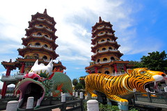 Dragon Tiger Tower () Tags: travel summer sky landscape taiwan olympus kaohsiung    tw clound  m43    zuoying  ep5    dragontigertower