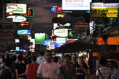 Khaosan Road by night (Thorsten Reiprich) Tags: city sea people urban travelling ads walking thailand lights spring asia traffic capital crowd tourists heat bang lam humid phu commercials thep phra   nakhon    krung