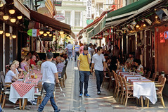 Restaurant Alley (caribb) Tags: city summer vacation urban food turkey trkiye restaurants istanbul lane marmara constantinople 2015 lygos