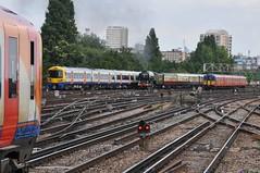 Four in a Row (McTumshie) Tags: england london train unitedkingdom engine railway loco steam tornado southwesttrains steamengine claphamjunction steamlocomotive 60163 londonoverground 1y82 lnera1class belmondbritishpullman 8august2015