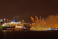 Oriana and Fireworks (clare.blandford) Tags: fireworks southamptonwater solent southanptondocks hampshire cruise liner oriana hartland point