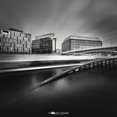 Motion (Thomas Franke Photography) Tags: dynamik bewegung motion boot boat ufer kapelleufer deutschland germany canon spree cloudy daylight clouds sky river water bridge architecture architektur langzeitbelichtung longexposure fineart schwarzweis sw bw berliner