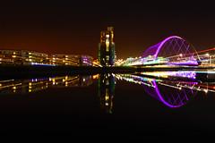 squinty bridge zoom (murphy197) Tags: anneflaherty nikond7100 tokina1116mm longexposure glasgow zoomburst reflections clyde riverclyde bridge colour scotland