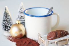 Choco for my cacao (eleni m (busy remodeling house and garden)) Tags: drink cacao mug mok spoon lepeltje chocolate chocola xmasbauble kerstbal trees boompjes snow sneeuw indoor dof bokeh sledge sleetje enamel emaille