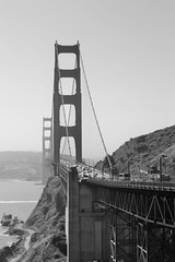 Golden Gate Bridge, San Francisco (helenthrelfall) Tags: bridge city blackandwhite monochrome outdoor sanfrancisco goldengate attraction usa california