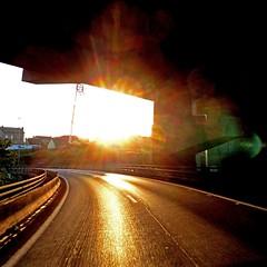 Way Back to Angers (pom.angers) Tags: panasonicdmctz10 october 2011 lacourneuve autoroute highway roadpicture sun 93 îledefrance seinesaintdenis saintdenis paris france europeanunion fromamovingvehicle motorway