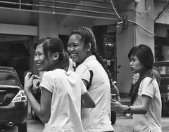 Laughing Girls (Beegee49) Tags: filipina girls students laughing crossing blackandwhite street bacolod city philippines