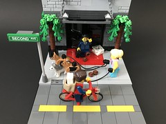 Watch your step. (brickprincess) Tags: lego legomoc moc afol legonewyork legostreet legobuilding dogwalker newyork legodogwalker iphoneonly