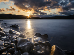 Sunset (Grant Morris) Tags: scotland loch waterscape waterfront water rocks wetrocks longexposure clouds goldenskies grantmorris grantmorrisphotography canon